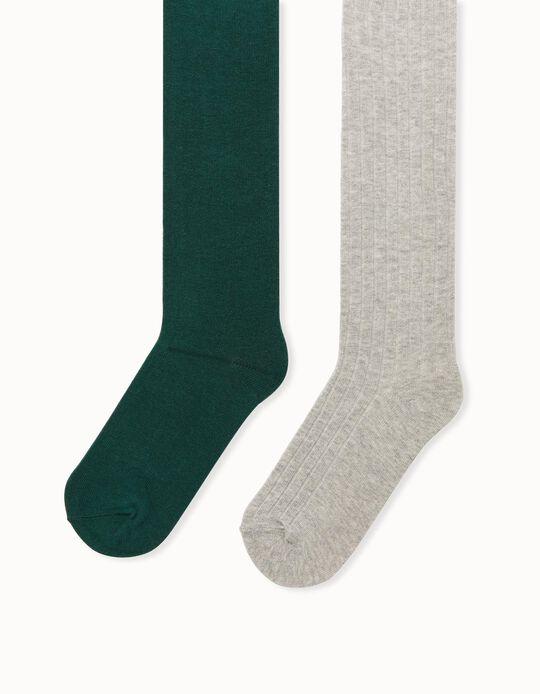 2 Collants de Malha para Menina, Cinza/Verde