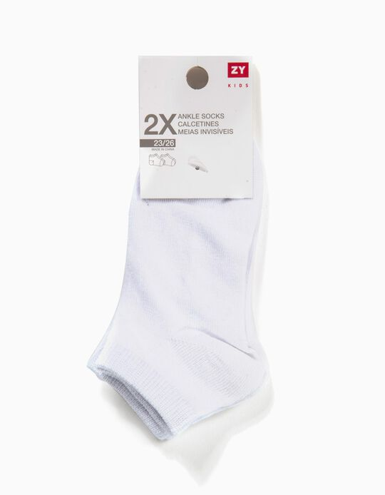 2-Pack Pairs of Invisible Socks for Boys, White