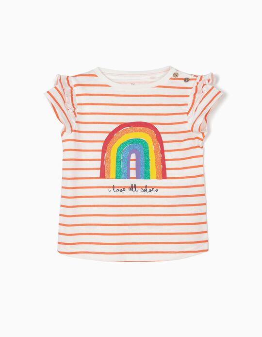 T-shirt for Baby Girls 'All Colors', White and Orange