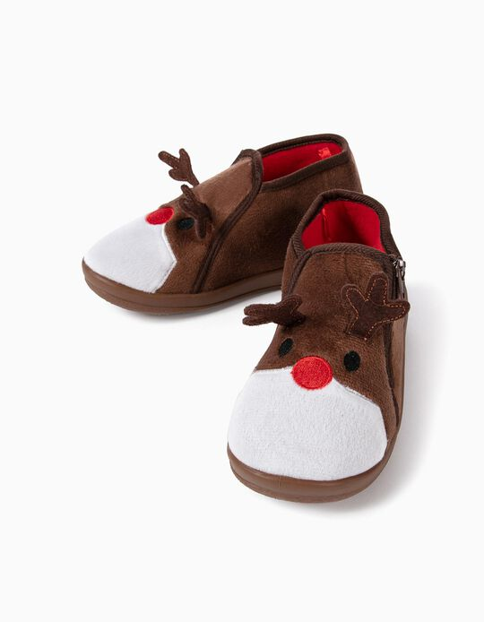 Slippers Boots for Kids 'Christmas Reindeer', Brown
