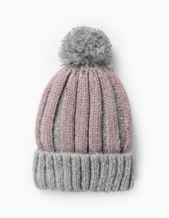 Knit Beanie with Pompom for Girls, Grey/Pink
