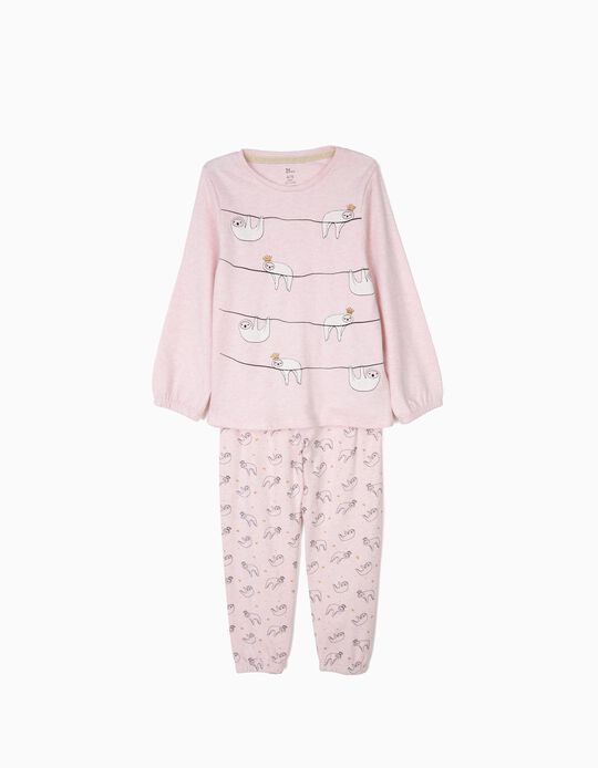 Pijama para Menina 'Queen Sloths' Manga Comprida, Rosa Claro