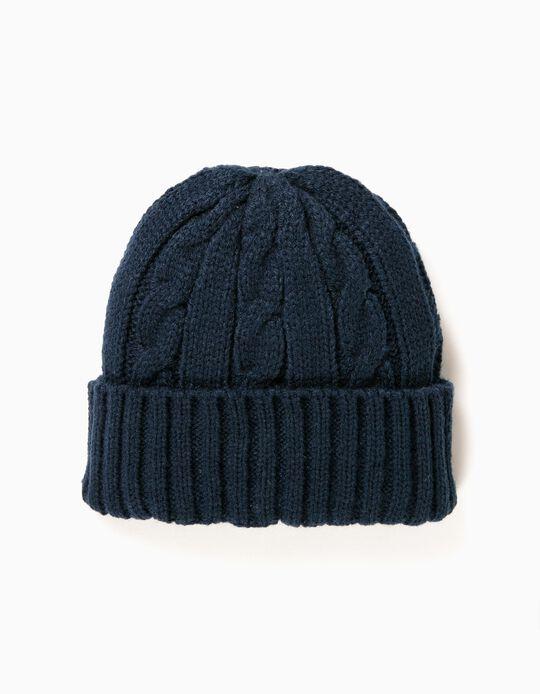 Gorro Tricotado Azul Escuro