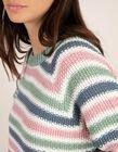 Camisola  às riscas de malha tricotada em ponto de arroz