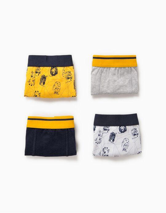 4 Boxers para Menino 'Animals', Multicolor