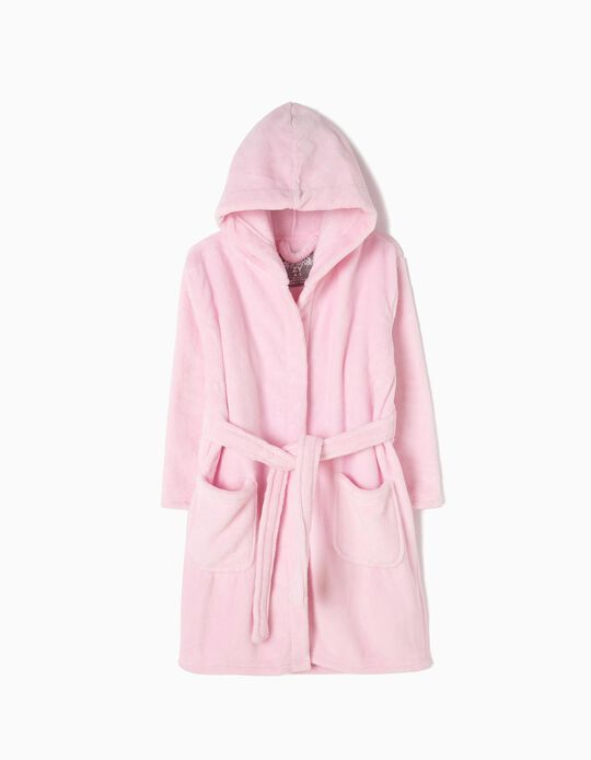 Hooded Bathrobe for Girls, Pink