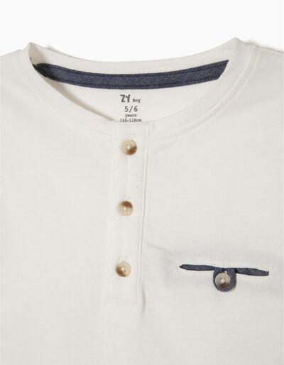 T-shirt com Botões Azul