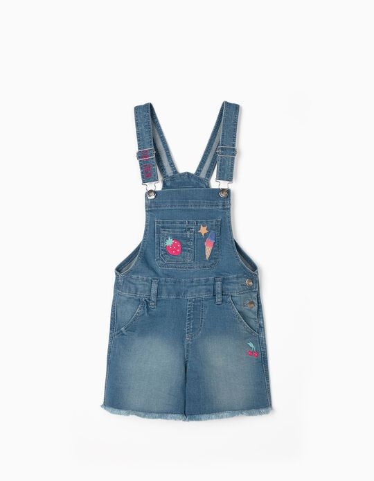 Short Denim Dungarees for Girls, 'Stay Fresh', Blue