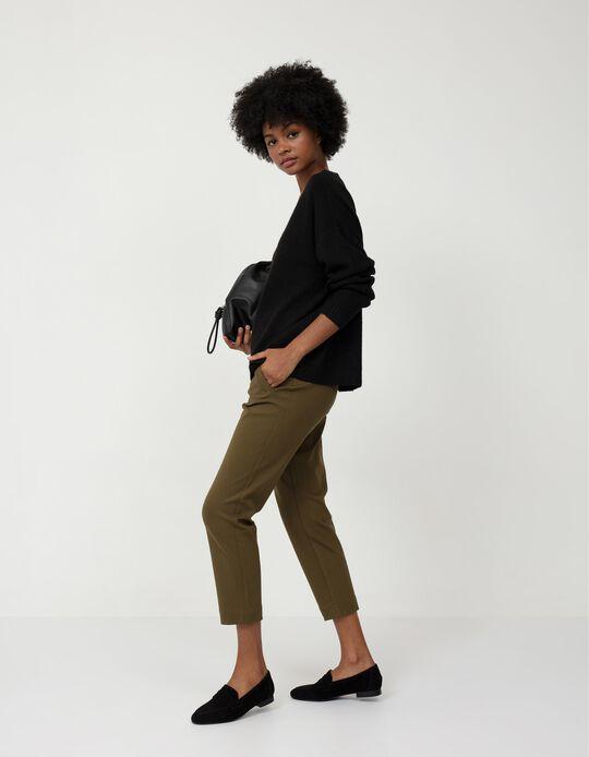 Green High Waist Trousers, for Women