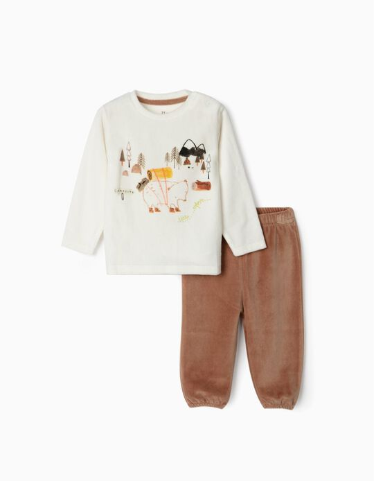 Velvet Pyjamas for Baby Boys 'My Sweet Home', White/Brown