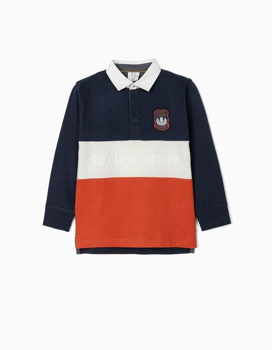 Long Sleeve Polo Shirt for Boys 'Scottish', Multicoloured