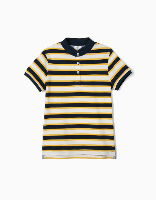 Striped Polo Shirt with Mandarin Collar for Boys, Blue and Yellow