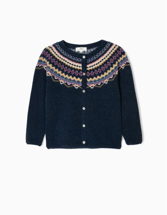 Wool Cardigan for Girls, Dark Blue