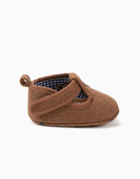 Sapatos Pre-Walker de Lã Castanhos