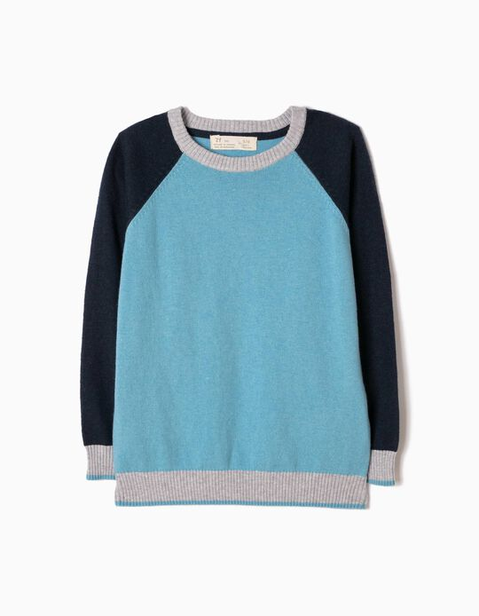 Tricoloured Knitted Jumper, Light Blue