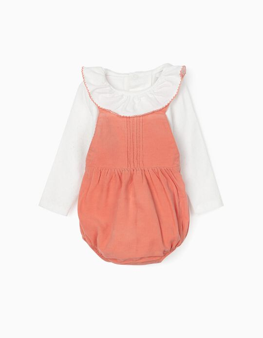 Bodysuit + Jumpsuit for Newborn Baby Girls, White/Coral