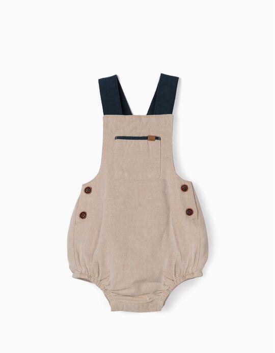 Twill Jumpsuit for Newborn Baby Boys, Beige/Blue