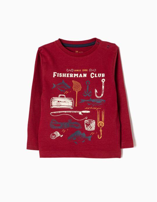 T-shirt Manga Comprida Fisherman Vermelha