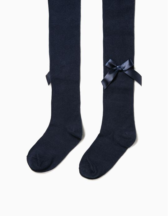 Knit Tights for Girls with Bows, Dark Blue