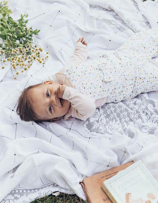 Dungarees for Newborn Girls 'Flowers', White