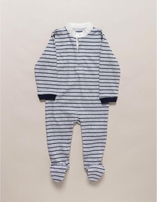Babygrow Cinzento com Riscas Azuis
