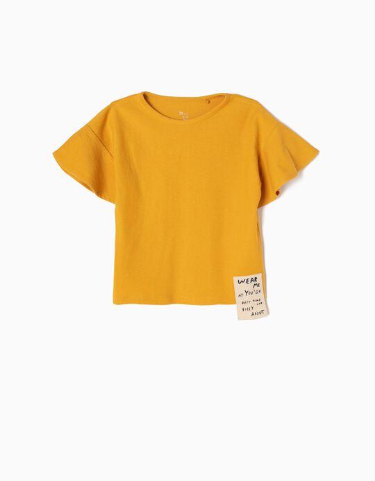 T-shirt com Textura e Folhos Amarela