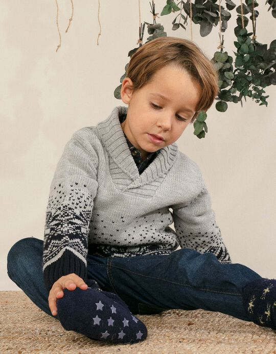 Knit Jumper for Boys, Grey/Dark Blue