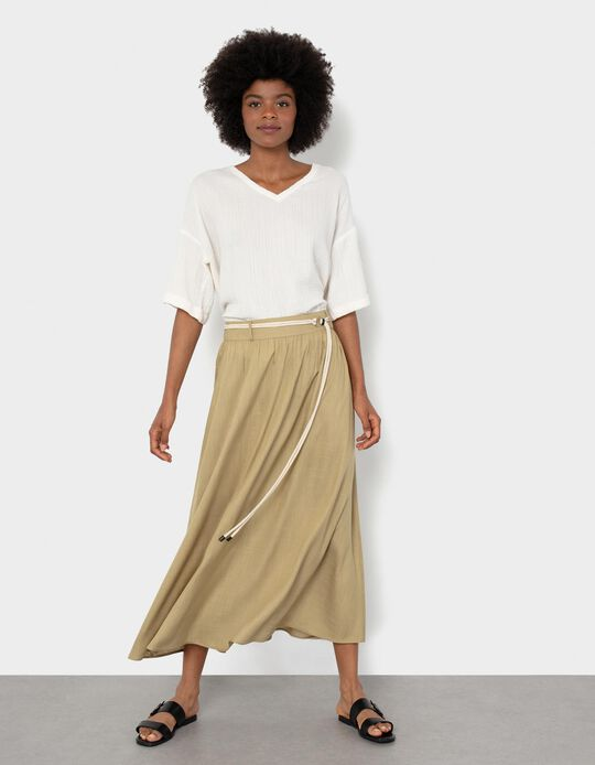 Fluid Skirt with Belt, Women