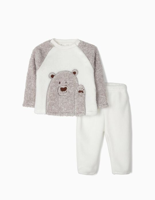 Coral Fleece Pyjamas for Baby Boys 'Teddy Bear', Grey/White