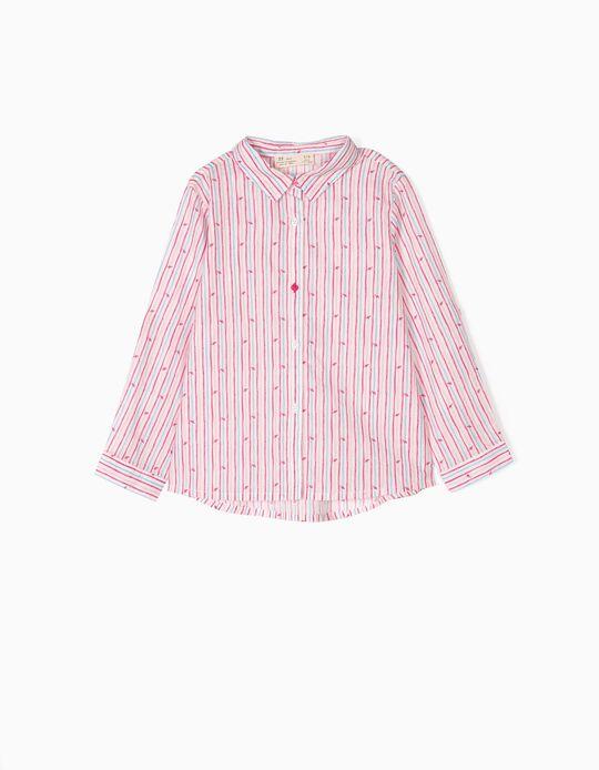Camisa para Menina Riscas e Corações, Multicolor