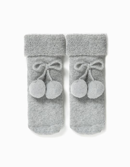 Terry Socks with Pompom for Baby Girls, Grey