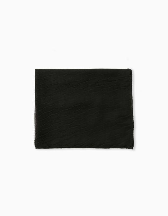 Plain Sateen Scarf, Black