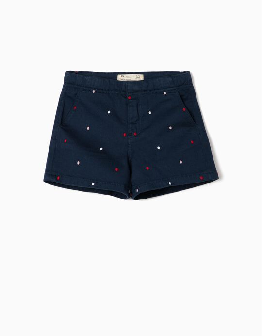 Dotted Shorts for Girls, Dark Blue