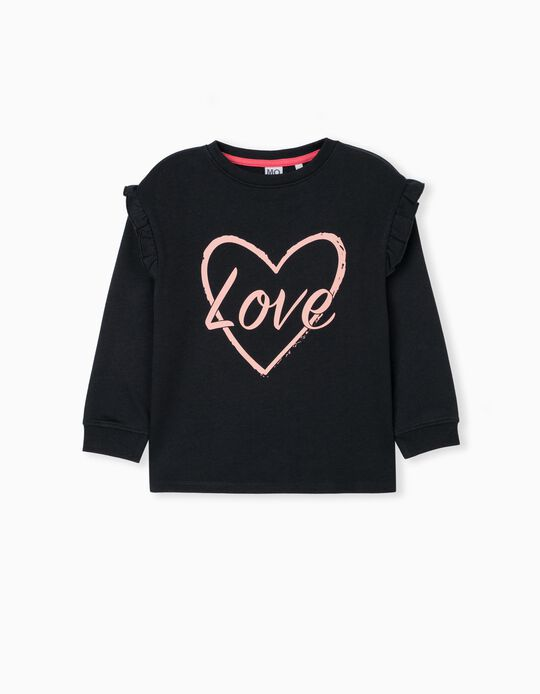 Sweatshirt with Ruffle, Girls, Black