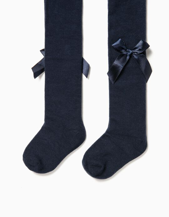 Collants de Malha para Bebé Menina com Lacinhos, Azul Escuro