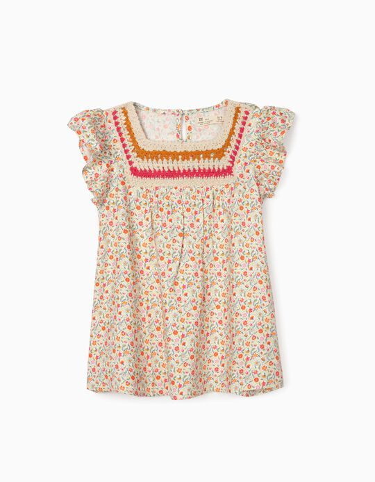 Floral Blouse for Girls, Multicoloured