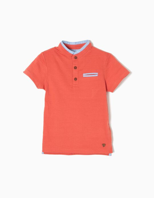 Short-Sleeved Polo Shirt with Mandarin Collar, Orange