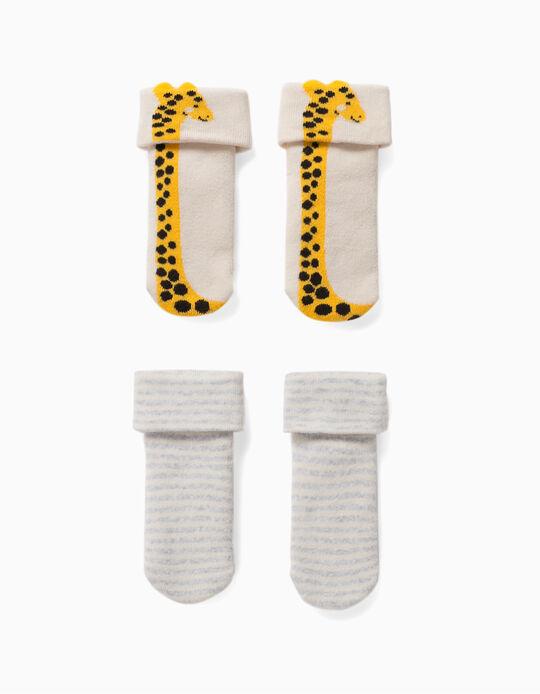2 Pairs of Non-Slip Socks for Babies, 'Giraffe', Beige