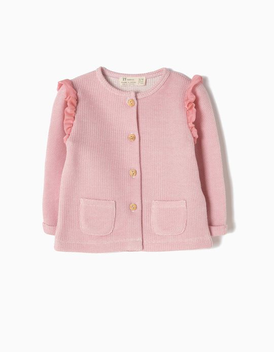 Pink Cardigan with Ruffles