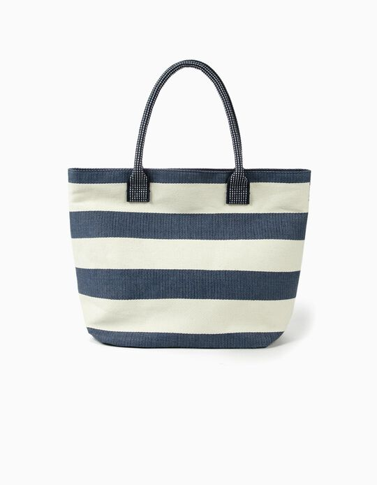 Two-tone straw beach bag