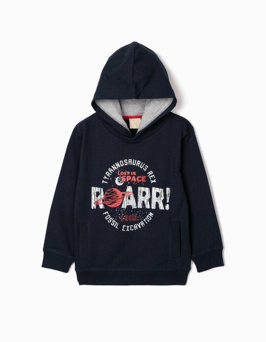 Hooded Sweatshirt for Boys, 'Roarr!', Dark Blue