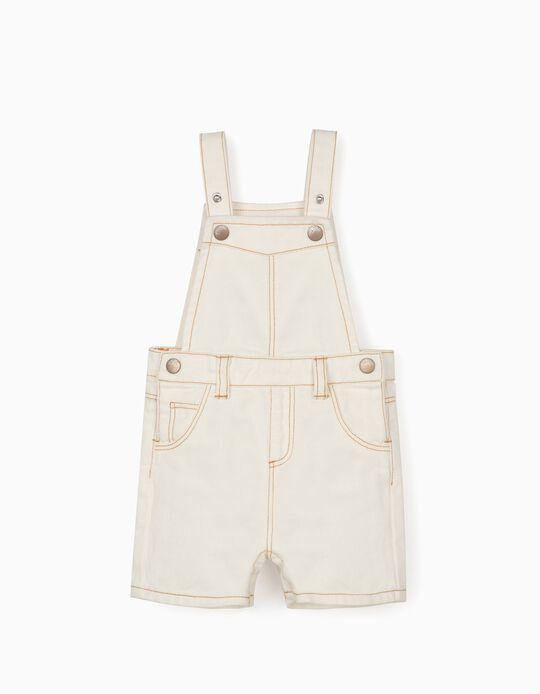 Denim Short Dungarees for Baby Boys, White