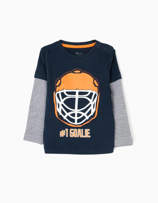 T-shirt Manga Comprida #1 Goalie Azul