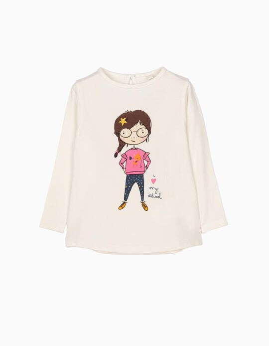 T-shirt Manga Comprida Love School Branca