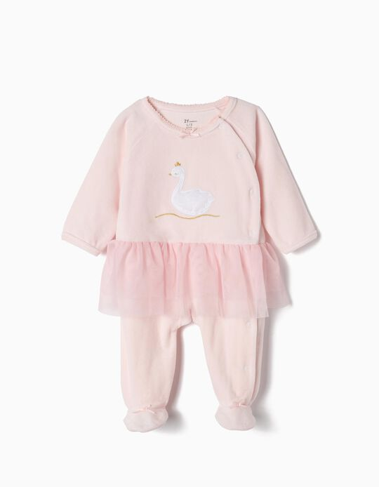 Velvet sleepsuit for Newborn Girls 'Swan Princess', Pink