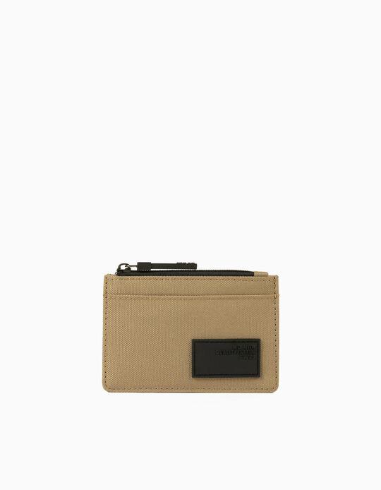 Canvas Cardholder for Men, Beige