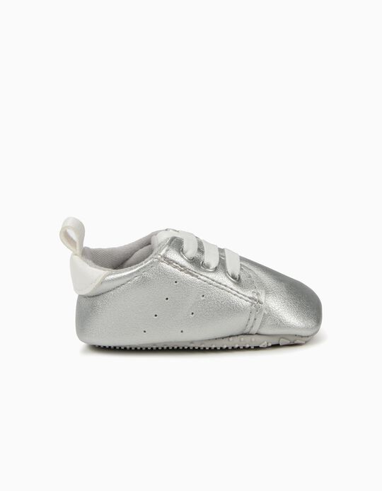 Sneakers for Newborn Girls with Elastic Shoelaces, Silver and White