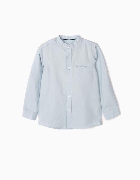 Shirt with Mandarin Collar for Boys, Blue