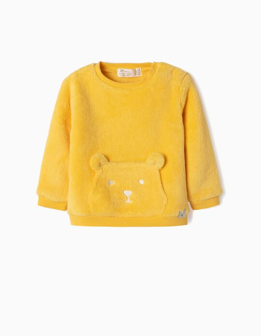 Coral Fleece Sweatshirt for Newborn Boys 'Teddy Bear', Yellow