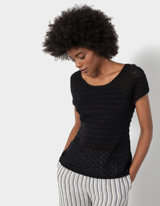 Fine Knit T-shirt, Women
